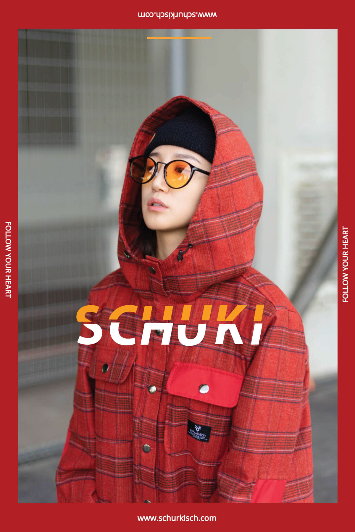 SCHUK Checked Shirt Jacket Red
